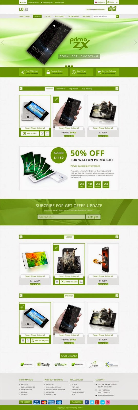 High Quality E-commerce PSD Template