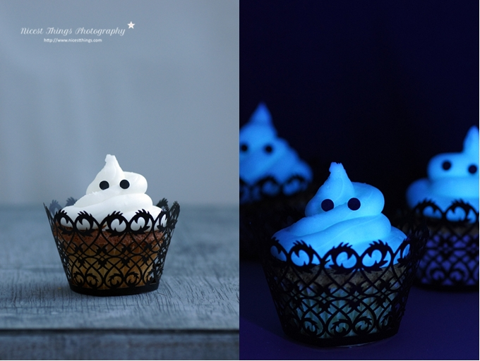 Halloween Geister Cupcakes Glow In The Dark leuchtende Cupcakes