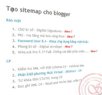 site map cho blogspot