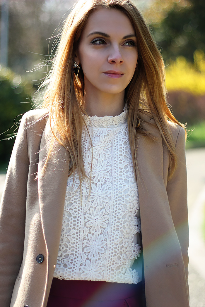 romantic white lace shirt, camel coat, spring outfit