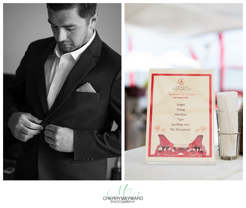 groom getting ready, drinks menu, Koh samui Wedding, getting married in Thailand