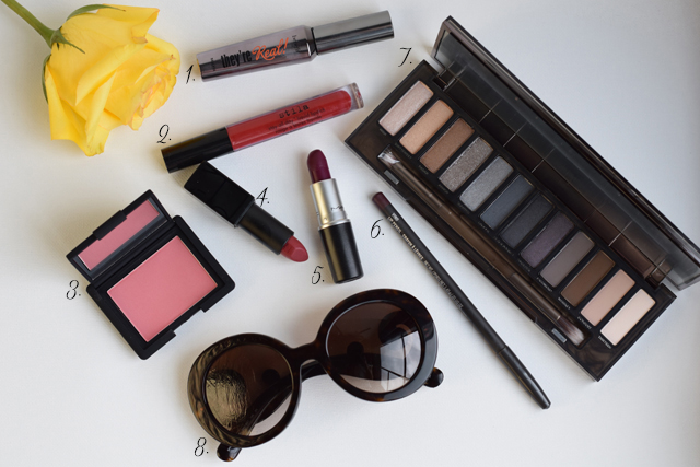 A Day In The Lalz; Fall Beauty; Fall Trends; Fashion Style; Fashion Trends; Fall Fashion; NARS Amore Blush; MAC Rebel: NARS Audrey; MAC Vino Lip Liner; Urban Decay Smokey Palette; Stila Beso; Benefit They're Real! Mascara; Prada Sunglasses