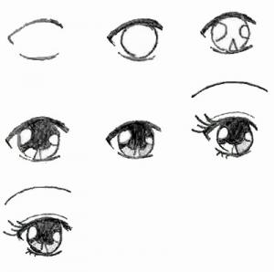 how to draw big cartoon eyes