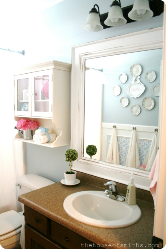 Our home tour hallway and main bathroom for Small main bathroom ideas