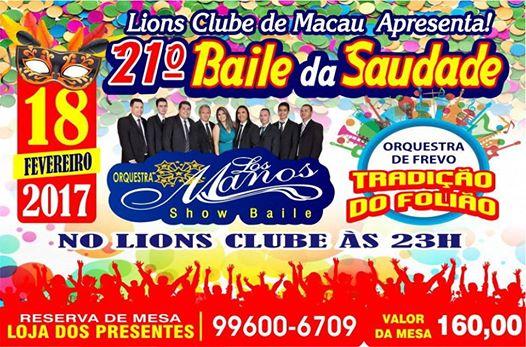 BAILE DA SAUDADE - LIONS CLUBE DE MACAU