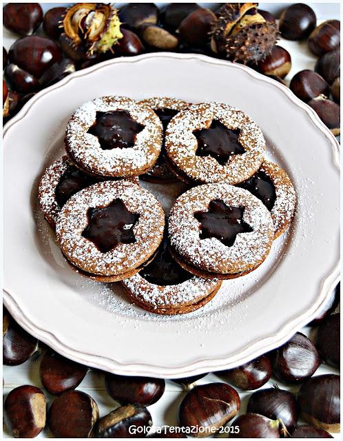 biscotti con farina di castagne e confettura di ciliegie