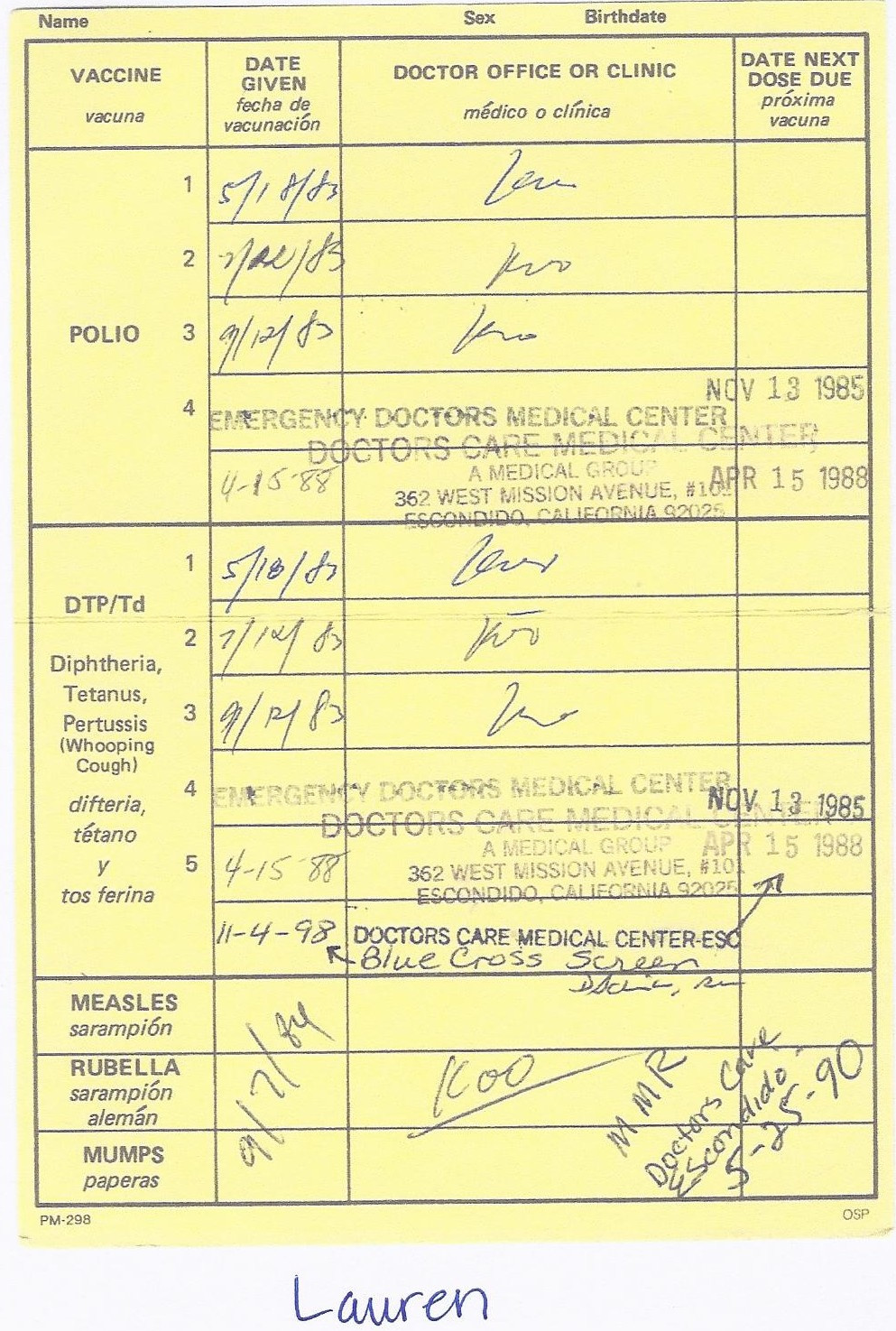 Printable Immunization Record