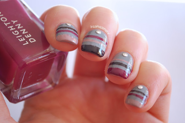 autumn stripe nail art