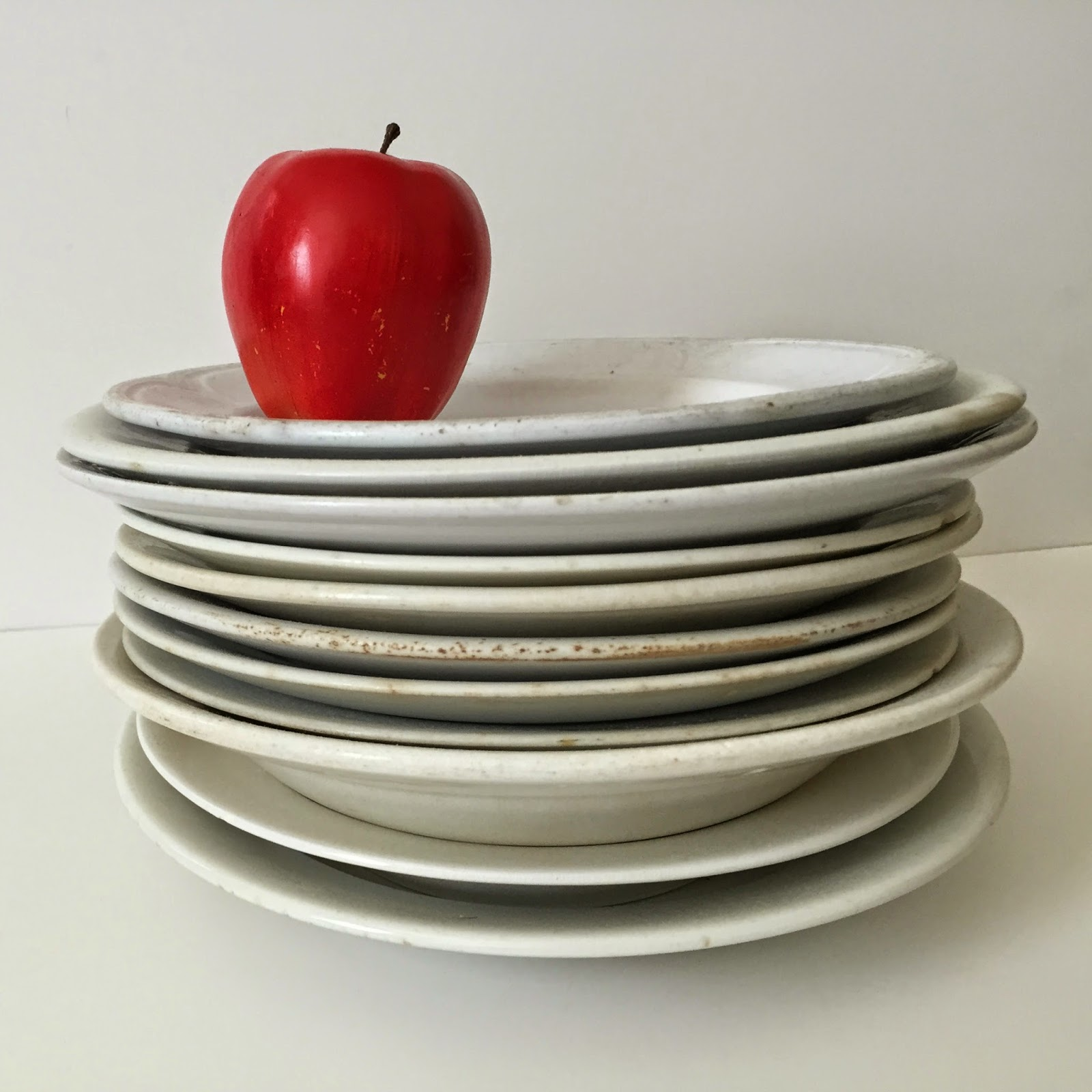 white ironstone plates antique
