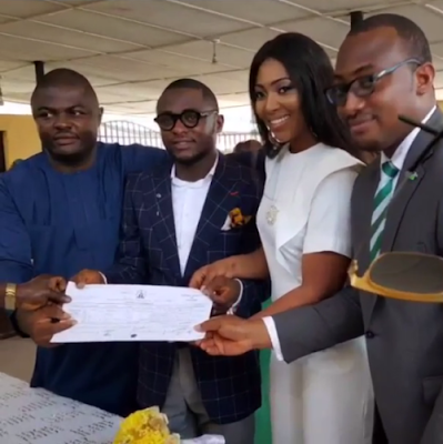 Lilian Esoro and Husband Ubi Franklin wed at Ikoyi Registry 6
