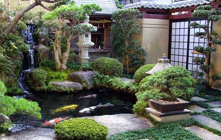 Taman Rumah Minimalis Jepang dengan Kolam Ikan