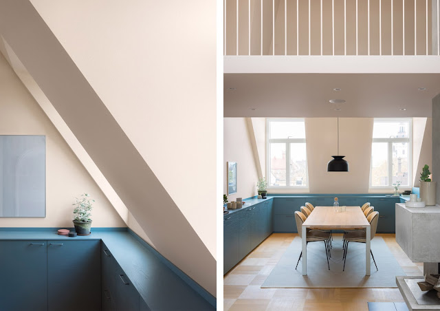 Casa a stoccolma con tonalit beige blu e grigio by note for Grigio e beige arredamento