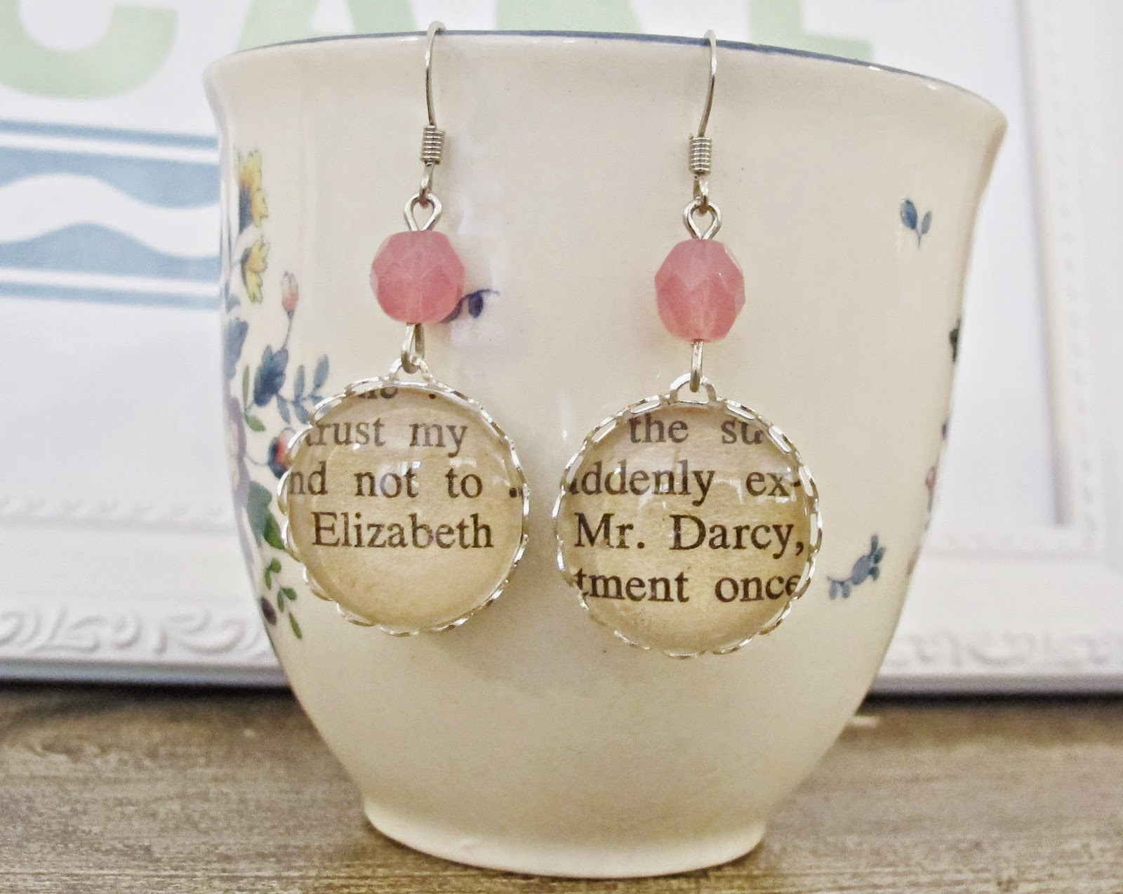 image pride and prejudice earrings jewellery jewelry jane austen mr darcy elizabeth bennet pink two cheeky monkeys literature