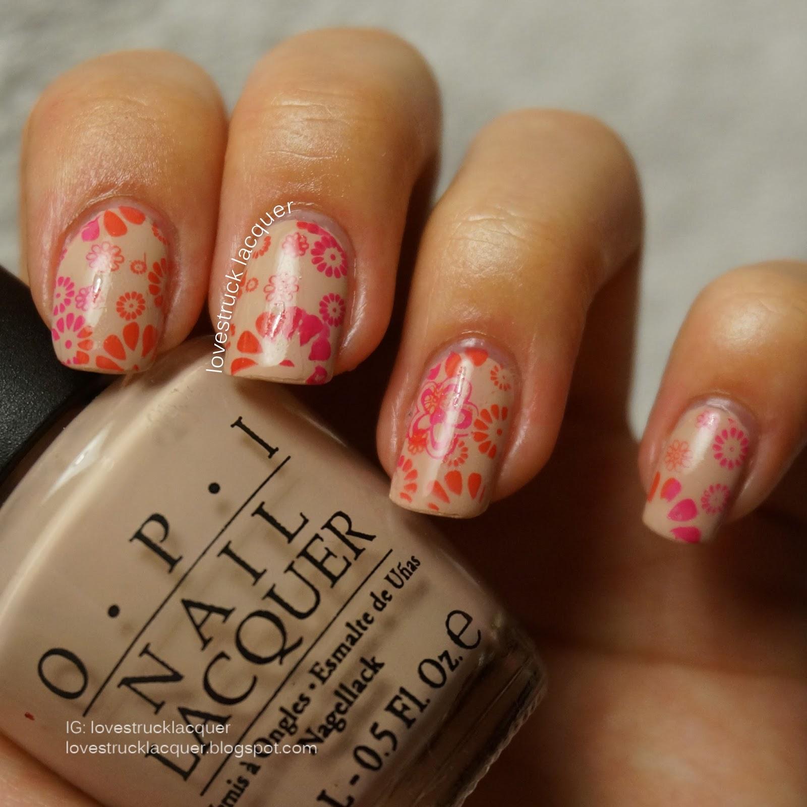 Two Tone Flower Nail Art Nailarts Ideas