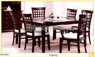 Kursi dan Meja Makan Kayu Jati Ukiran Kepang 6 Kursi