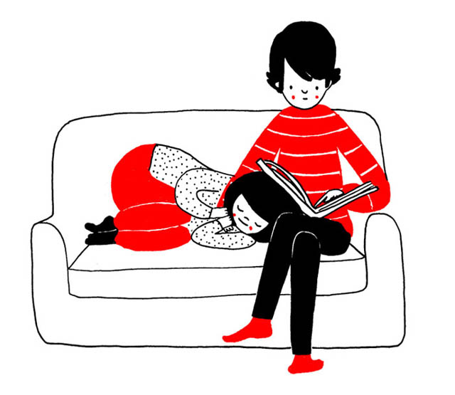 Heartwarming Illustrations Show That True Love Is In The Little Everyday Things - There is nothing more comfortable than falling asleep on your loved one's lap