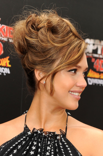 Wedding Updo Hairstyle: Jessica Alba Funky Messy Updo Hairstyle