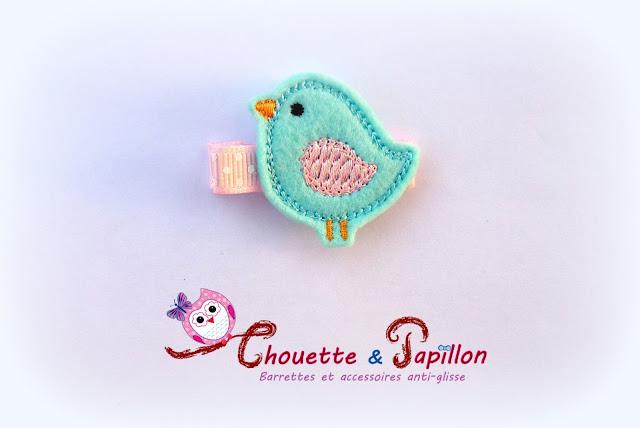 barrette fille anti-glisse oiseau bleu