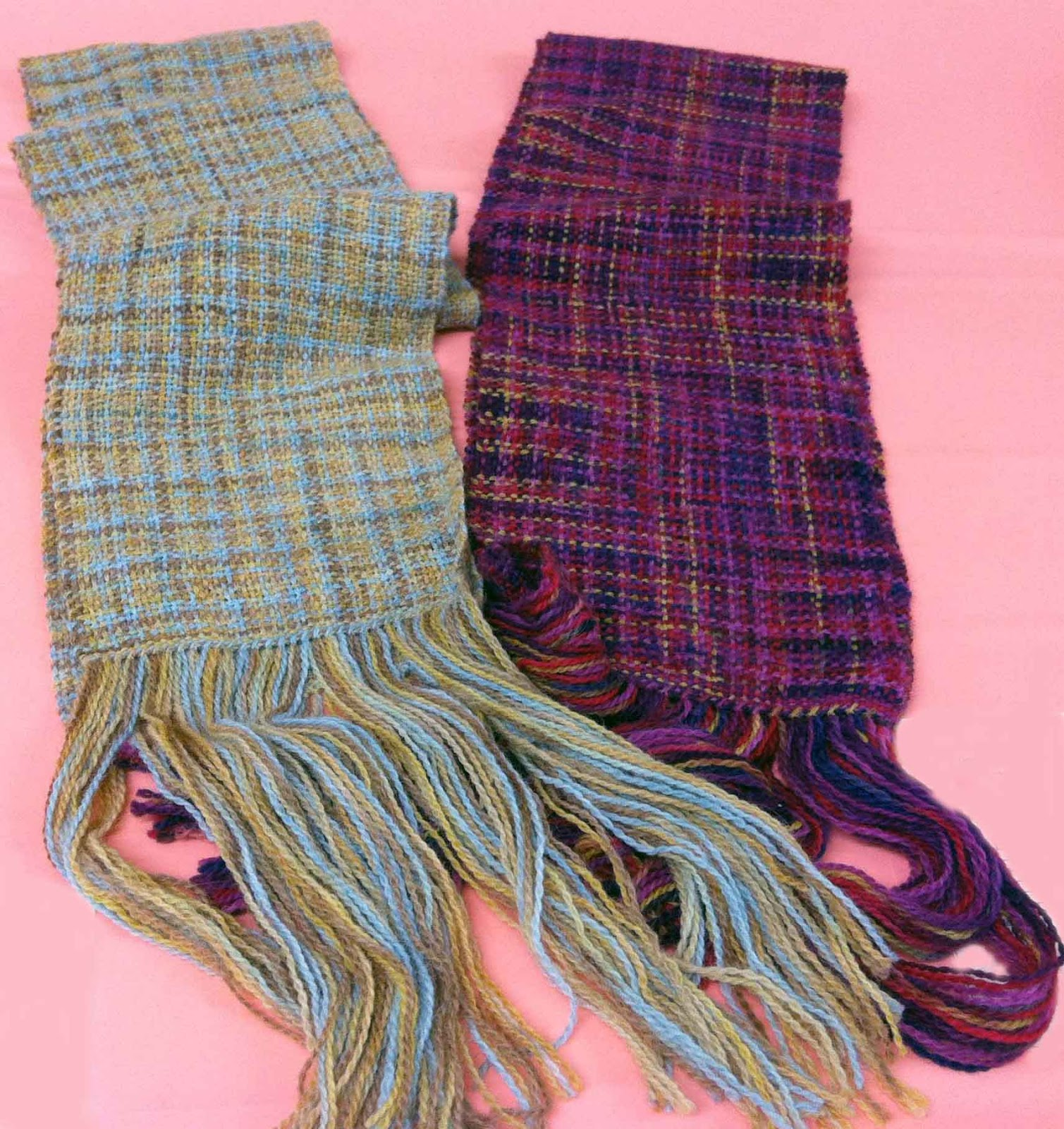 Knitting Yarn Scarf : Not square weavers knitting yarns into handwoven scarves