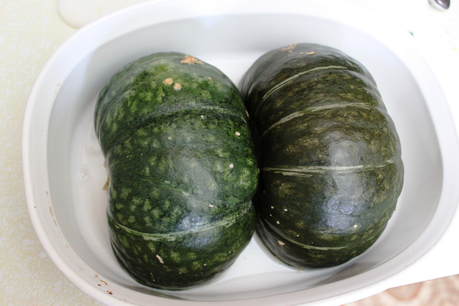 water into a pan or casserole dish that has sides and put the squash ...
