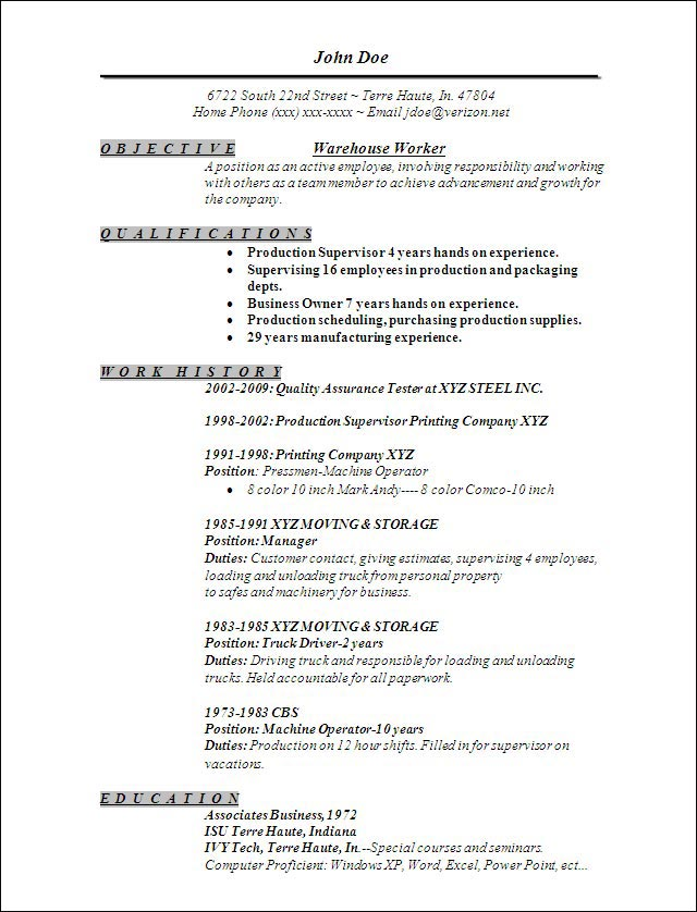 Delivery Driver Resume Example - Template