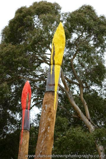 Dead tree media, Paintbrush Garden, by Peni 'Lucy' Edwards, at Keirunga Park Railway, Havelock North photograph