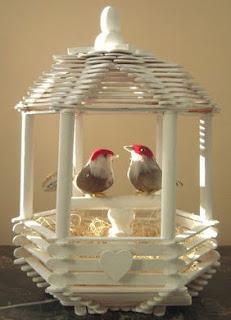ide kreatif cara membuat kerajinan Kandang burung love bird dari stik es krim
