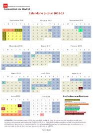 Calendario escolar curso 2018-19