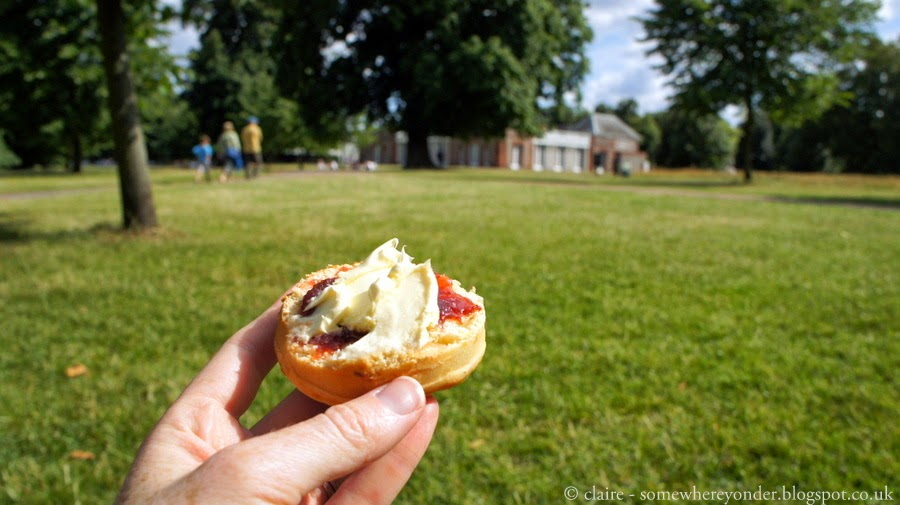 Relaxing with a scone outside the Serpentine Gallery, Hyde Park