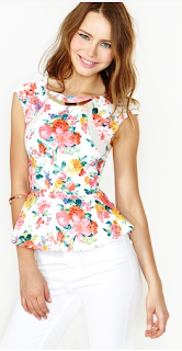 NastyGal Full Bloom Peplum Top