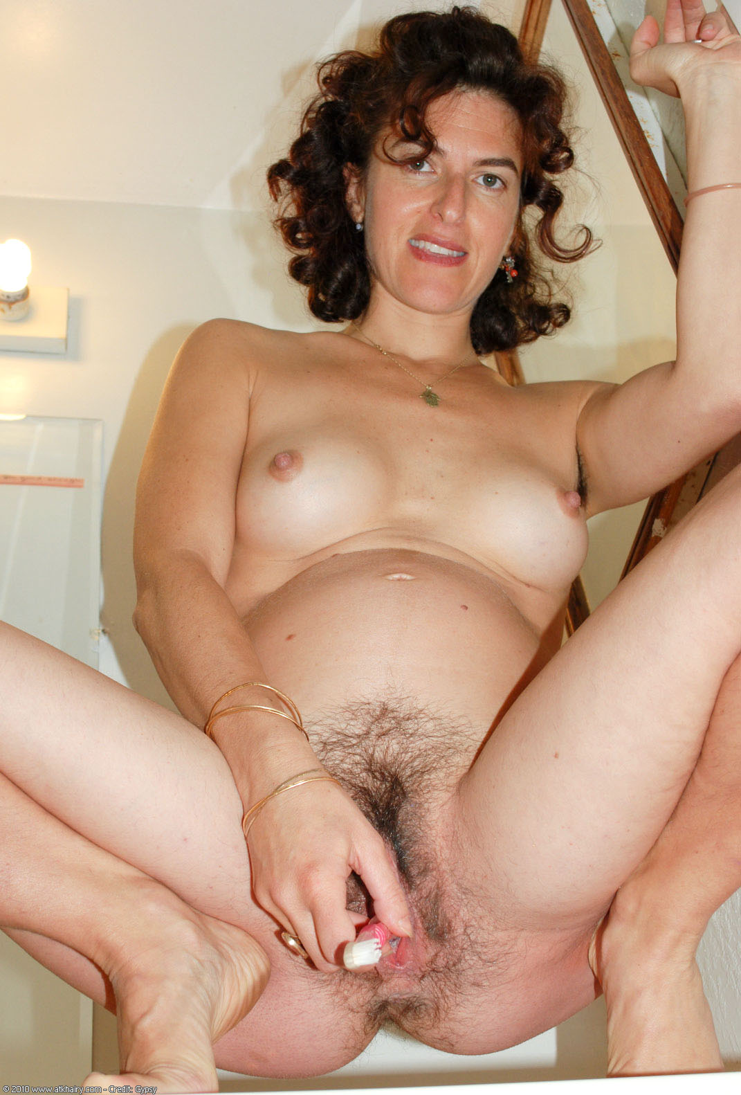 Pregnant hairy women naked something is