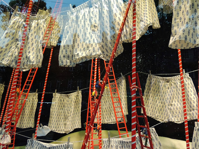 Artfully arranged boxers in the Christmas windows at Selfridges