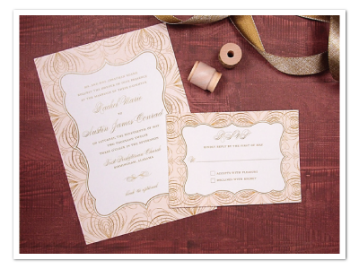 glamorous pink and gold wedding invitation design
