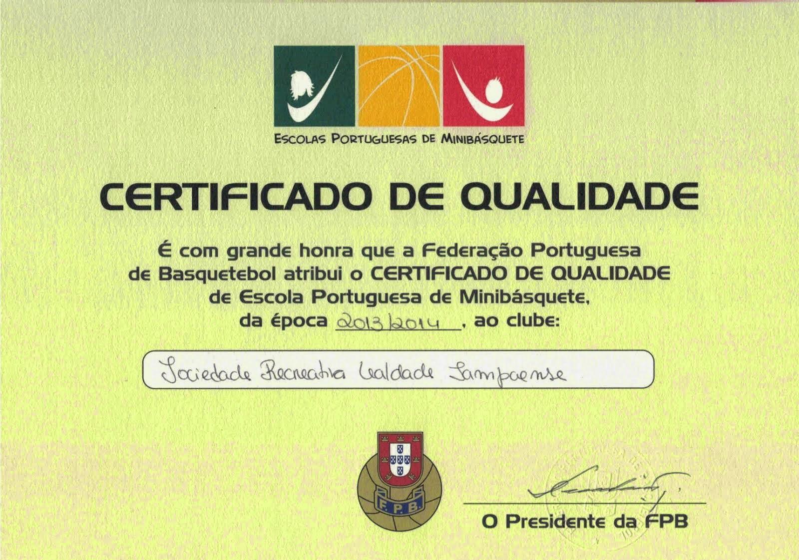 Certificado como Escola Portuguesa de Minibasquete