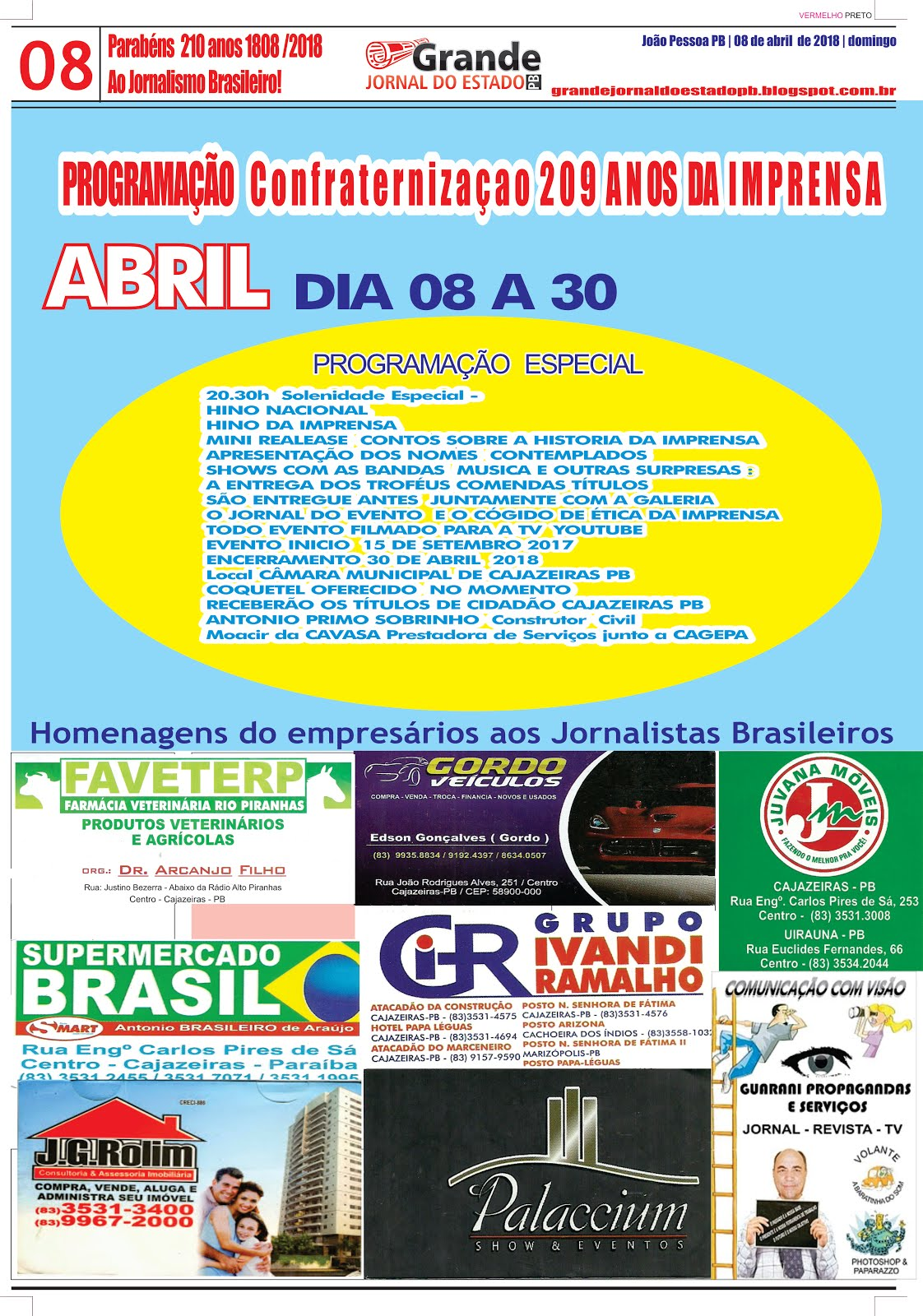 CONVITE E MODALIDADE DO EVENTO CONFRATERNIZAÇÃO DOS 209 ANOS DA IMPRENSA  ESCRITA DO BRASIL