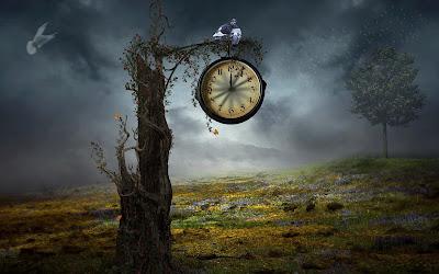 Imágenes fantásticas con reloj y aves exóticas