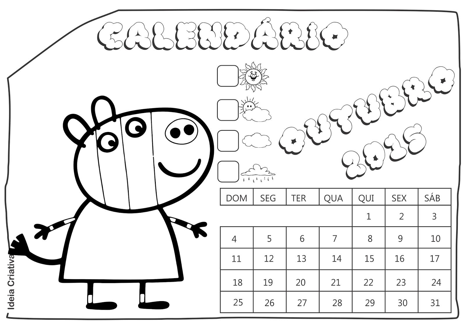 Calendário Outubro 2015 Peppa Pig e Seus Amigos para Imprimir Grátis