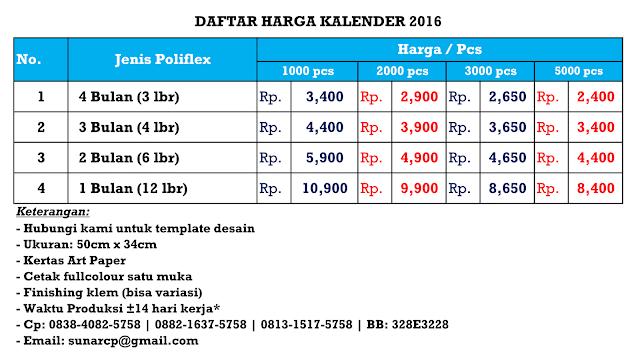 Kalender 2016, Kalender 2016 Murah, Kalender Murah
