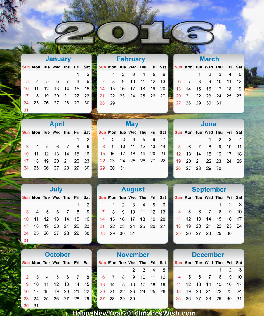 New Year 2016 Calender