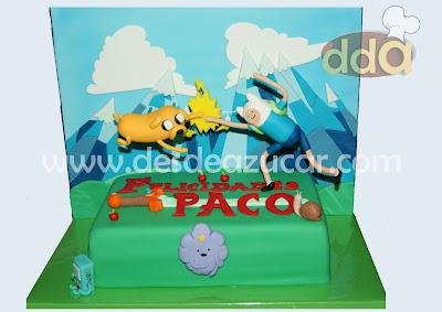 finn, hora de aventura, jake, tarta, tarta fondant, tarta fondant Sevilla, tarta hora de aventura,