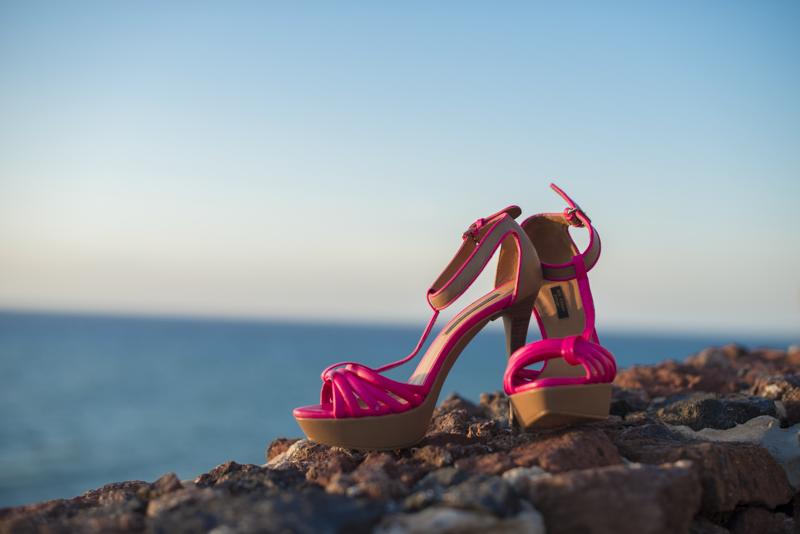 różowe sandały Zara