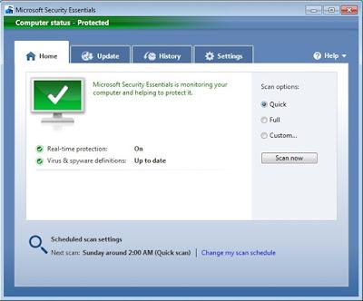 برنامج الحماية من شركة مايكروسوفت Microsoft Security Essentials