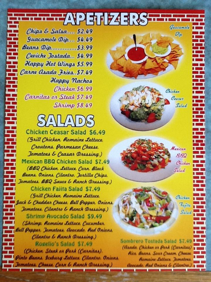 Mexican Food Appetizers Menu