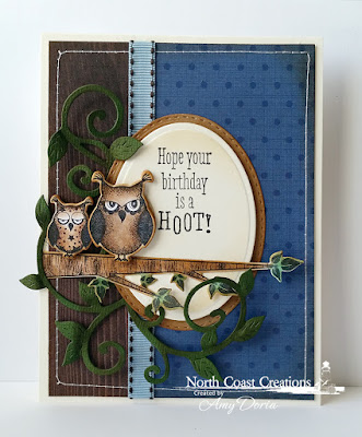 North Coast Creations Stamp set: Who Loves You?, North Coast Creations Custom Dies: Owl Family, Flourished Vine, Our Daily Bread Designs Custom Dies: Stitched Ovals, Ovals