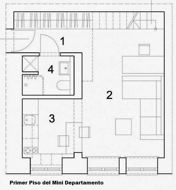 Dise o de departamento peque o de 29 metros cuadrados for Planos de departamentos de 40m2