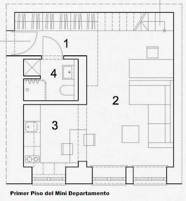 Dise o de departamento peque o de 29 metros cuadrados for Plano de pieza cocina y bano