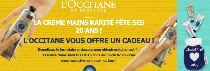 le blog malin l 39 occitane 3 cr mes mains offertes dans une pochette collector fans. Black Bedroom Furniture Sets. Home Design Ideas