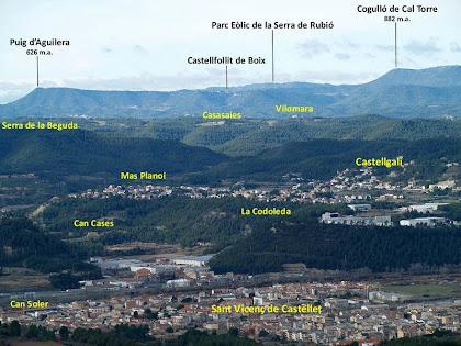 Panoràmica vers ponent des de la pujada al Puigsoler, on veiem les poblacions de Sant Vicenç de Castellet, Castellgalí i Castellfollit de Boix. Al fons resta ocupat per la Serra de Rubió i el Cogulló de la Torre