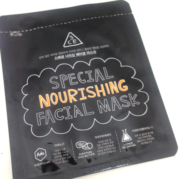 Stylenanda 3 concept eyes 3ce special nourishing facial mask review 쓰리컨셉아이즈 스페셜 너리싱 페이셜 마스크