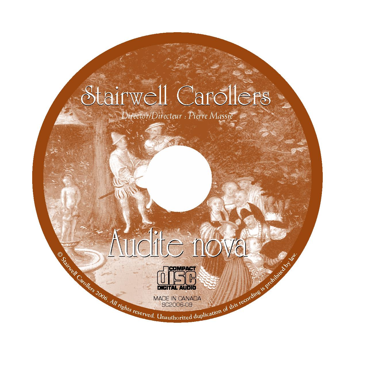 Stairwell Carollers Audite Nova Madrigal CD Label